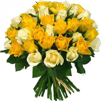 Yellow and white roses 40 cm. Change amount of rose in bouquet