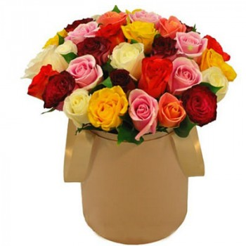 Mixed color roses in a cylindrical hat box (31 pcs)