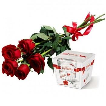 5 red roses 50 cm and Rafaello