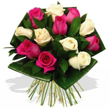 11 pink and white roses 40 cm