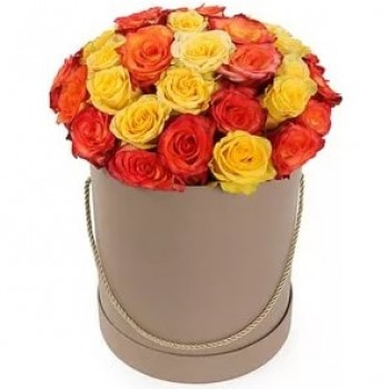 Yellow, orange rose in a flower box (25 pcs)
