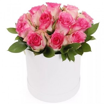 17 pink roses in a cylinder flower box